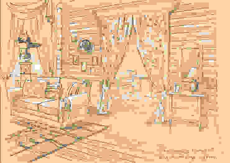 Загородный дом в поселке «Антоновка». Гостиная в рустикальном стиле от Архитектурно-дизайнерская компания Сергея Саргина Рустикальный