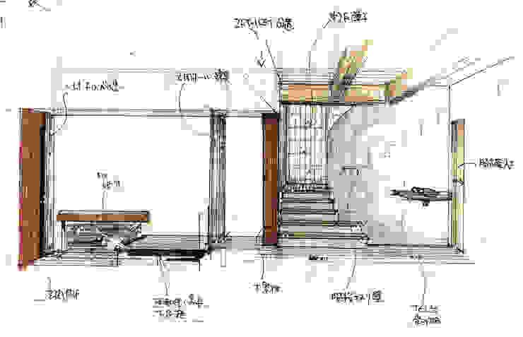 玄関からのスキップフロア導線イメージスケッチ: 渡邉意匠が手掛けた現代のです。,モダン