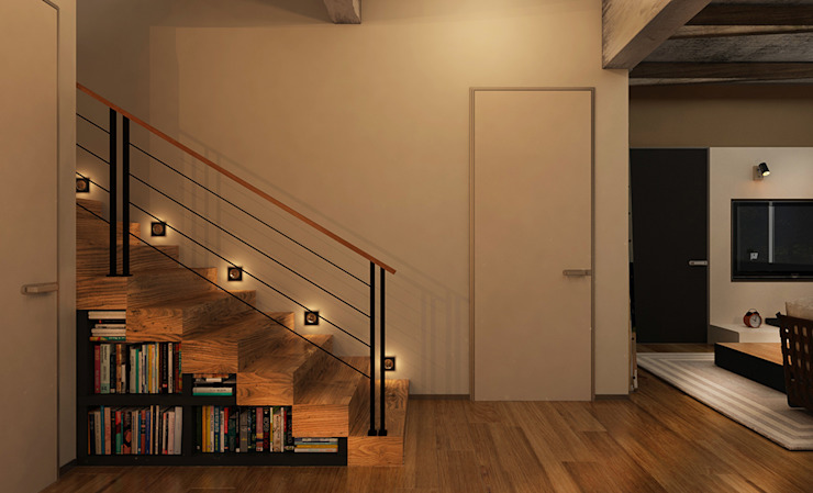 industrial style corridor, hallway & stairs. by he.d group Industrial Wood Wood effect