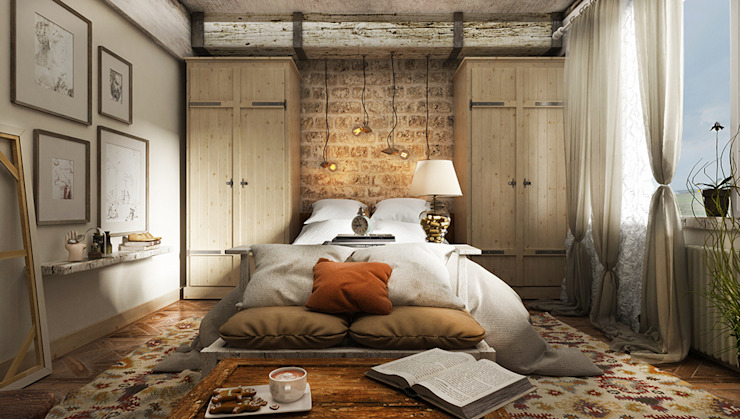Industrial style bedroom by he.d group Industrial Bricks