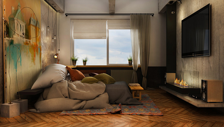 Фантазия Спальня в стиле лофт от he.d group Лофт Дерево Эффект древесины