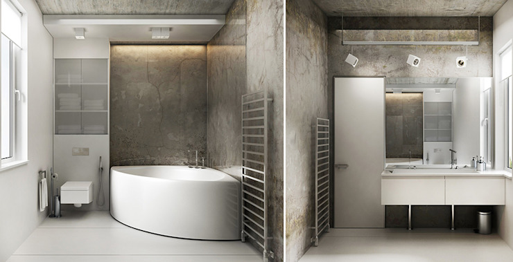 Industrial style bathroom by he.d group Industrial Ceramic
