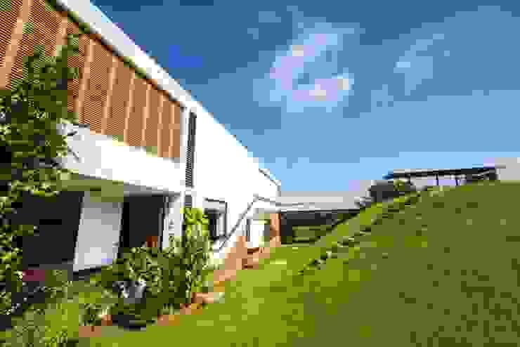 the front wall Modern houses by étendre Modern Bricks