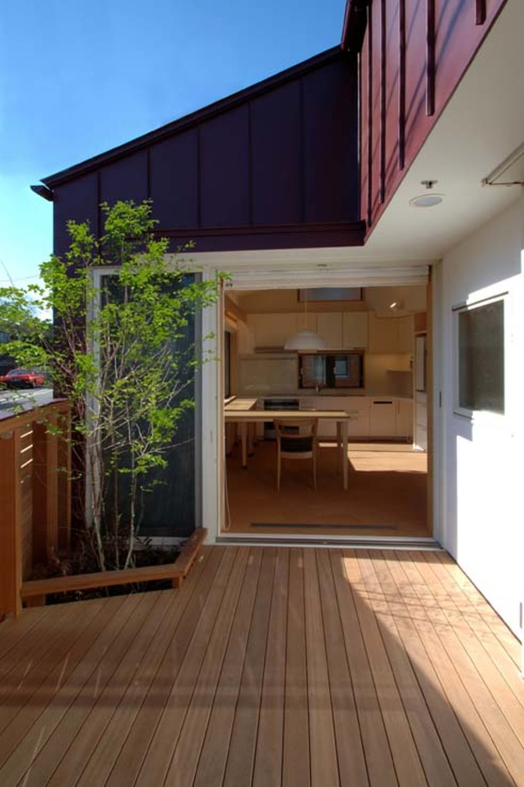 Country style balcony, veranda & terrace by 深澤設計 Country