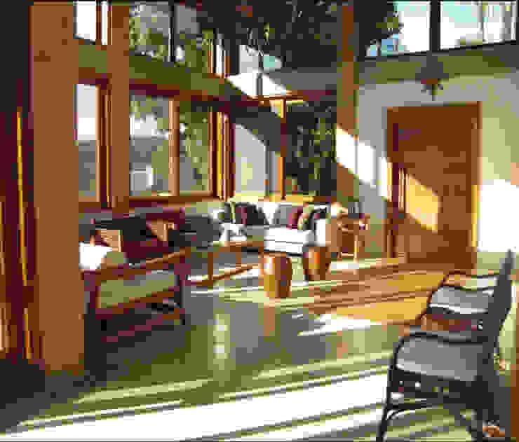 Casa de Campo em Atibaia Salas de estar campestres por GATE Arquitetos Associados Campestre