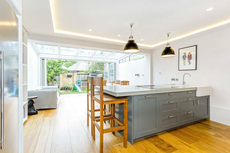 SE1 Extension Designcubed Modern kitchen Solid Wood Grey