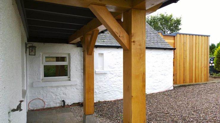 Oak frame porch Rustic style houses by Architects Scotland Ltd Rustic Solid Wood Multicolored