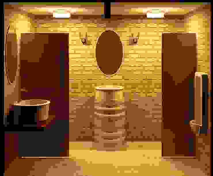 Reforma de banheiro de restaurante Espaços gastronômicos rústicos por Henrique Thomaz Arquitetura e Interiores Rústico