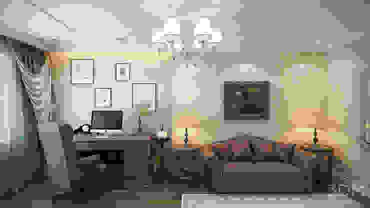 студия визуализации и дизайна интерьера '3dm2' Minimalist study/office Beige