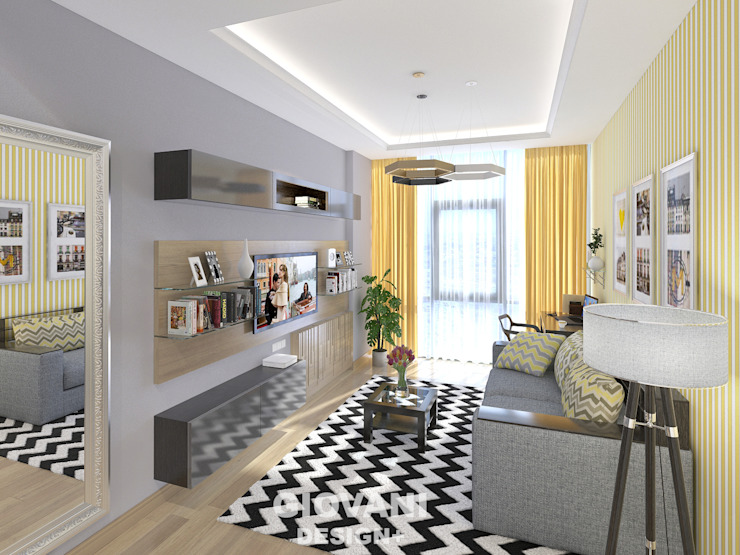 Солнечная квартира для молодой семьи Гостиная в скандинавском стиле от Giovani Design Studio Скандинавский