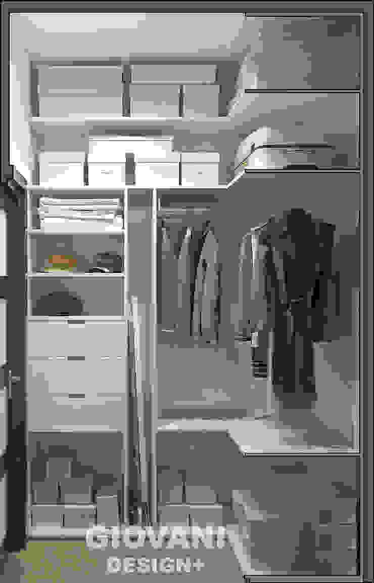Солнечная квартира для молодой семьи Гардеробная в скандинавском стиле от Giovani Design Studio Скандинавский