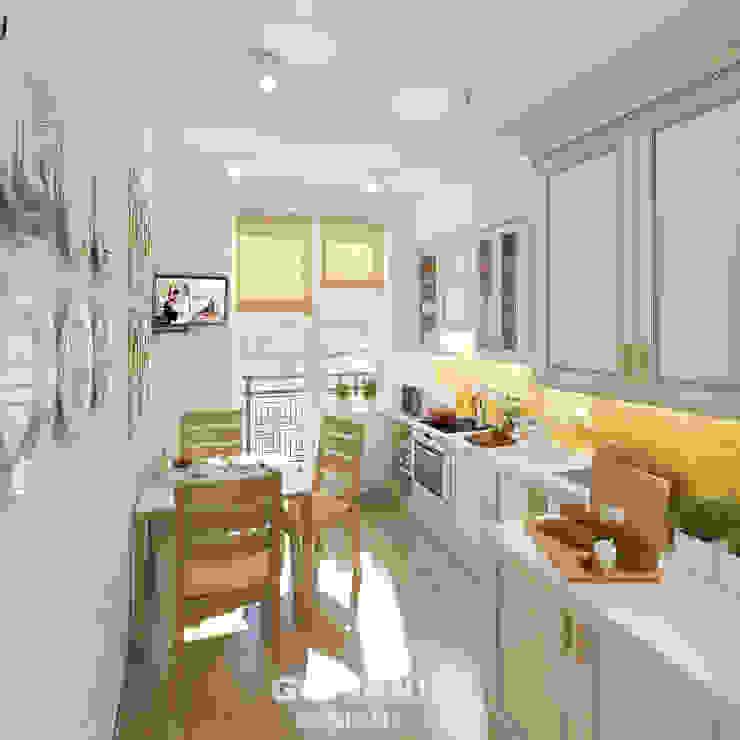 Солнечная квартира для молодой семьи Кухня в скандинавском стиле от Giovani Design Studio Скандинавский