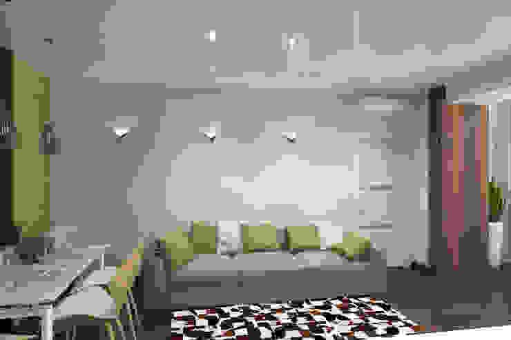 Квартира для молодой семьи Гостиные в эклектичном стиле от Ирина Альсмит Эклектичный