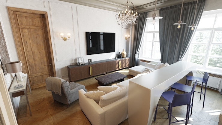 Квартира на Пречистенке Гостиная в скандинавском стиле от FAOMI Скандинавский