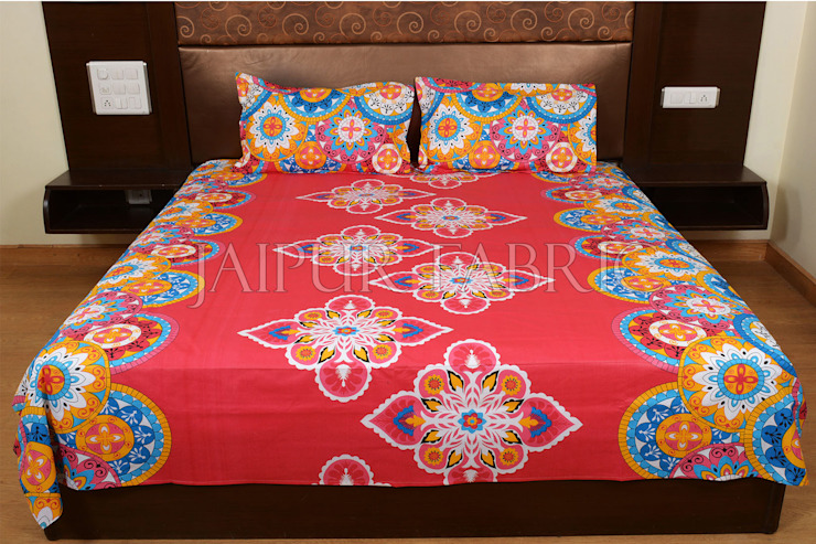 Red Base Multi Color Rangoli Print Cotton Double Bed Sheet: classic  by Jaipur Fabric,Classic Cotton Red