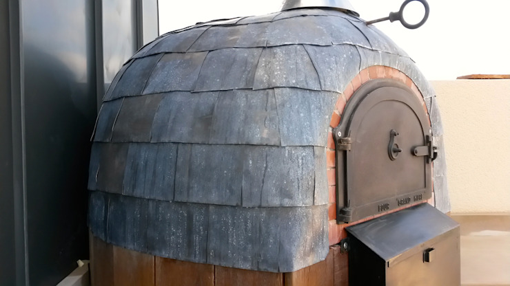 Roof terrace oven Modern Terrace by wood-fired oven Modern
