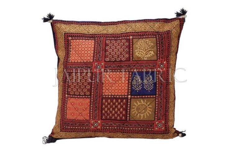 Multi Color Golden Block Print Cotton Cushion cover: classic  by Jaipur Fabric,Classic