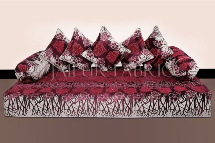 Magenta Color Velvet Floral Design Diwan Set Jaipur Fabric 客廳配件與裝飾品 棉 Red