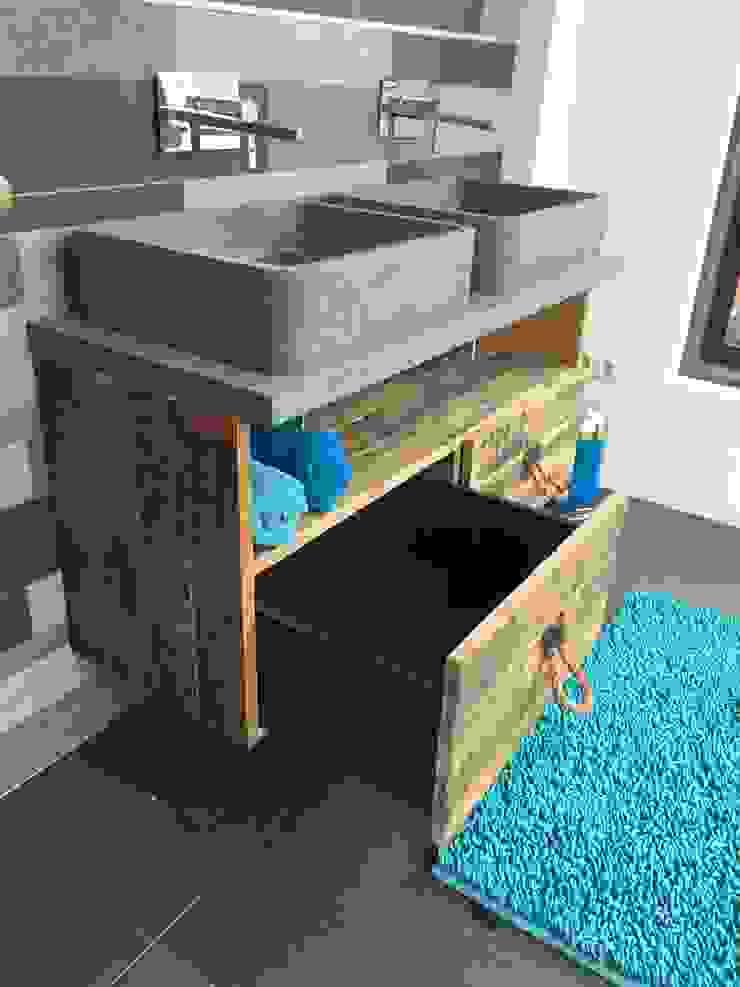 Wastafel meubel met 2 laden en 1 groot vak van maiidee Landelijk Hout Hout