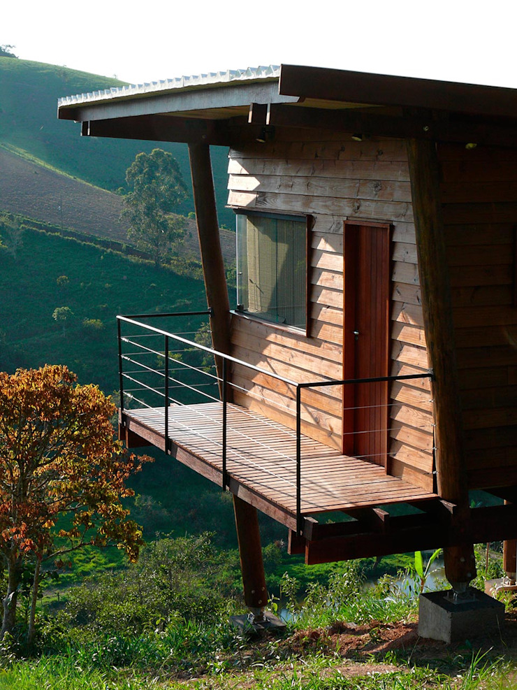 Casas de estilo rústico de Cabana Arquitetos Rústico Madera Acabado en madera