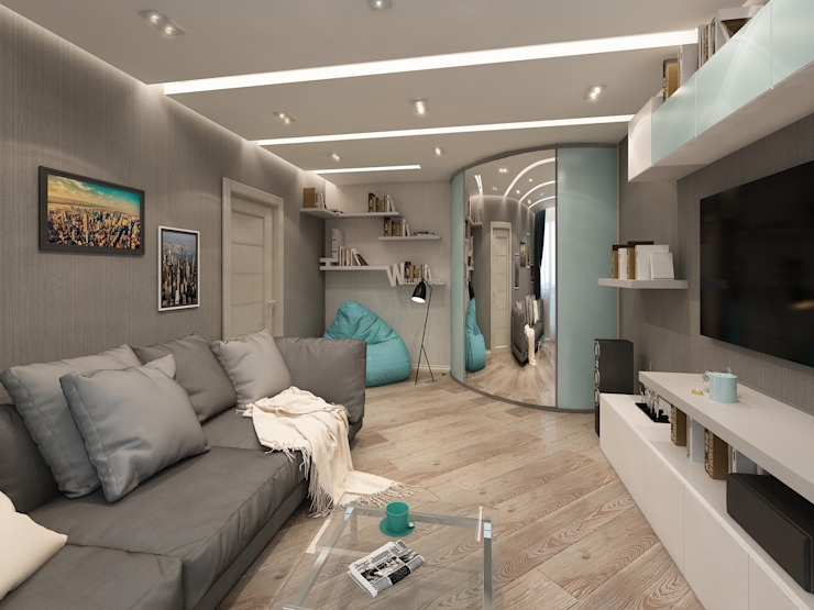 Лето Дизайн Living room Grey