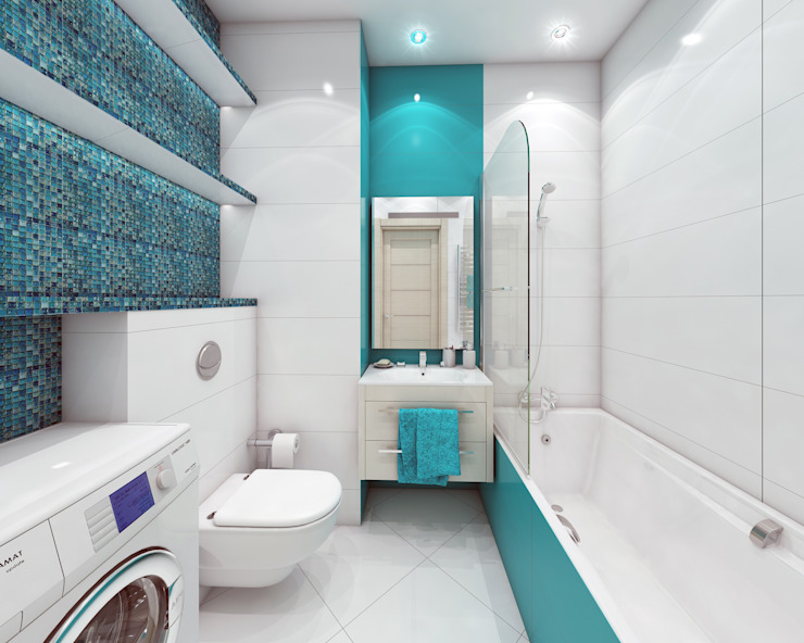 Лето Дизайн Minimalist style bathrooms Turquoise