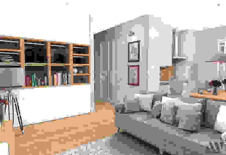 Квартира на Волжском проспекте Гостиные в эклектичном стиле от A.workshop Эклектичный