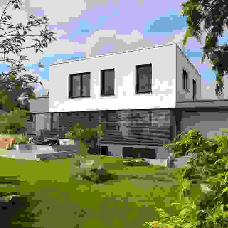Einfamilienhaus im Bauhausstil Plusenergiehaus | p Erlangen/Nürnberg Moderne Häuser von BUCHER | HÜTTINGER - ARCHITEKTUR INNEN ARCHITEKTUR Modern Holz Holznachbildung