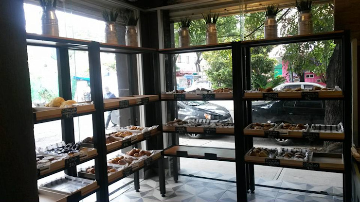 Panaderías La Artesa, sucursal Roma Espacios comerciales de estilo rústico de Purista Interiorismo Rústico