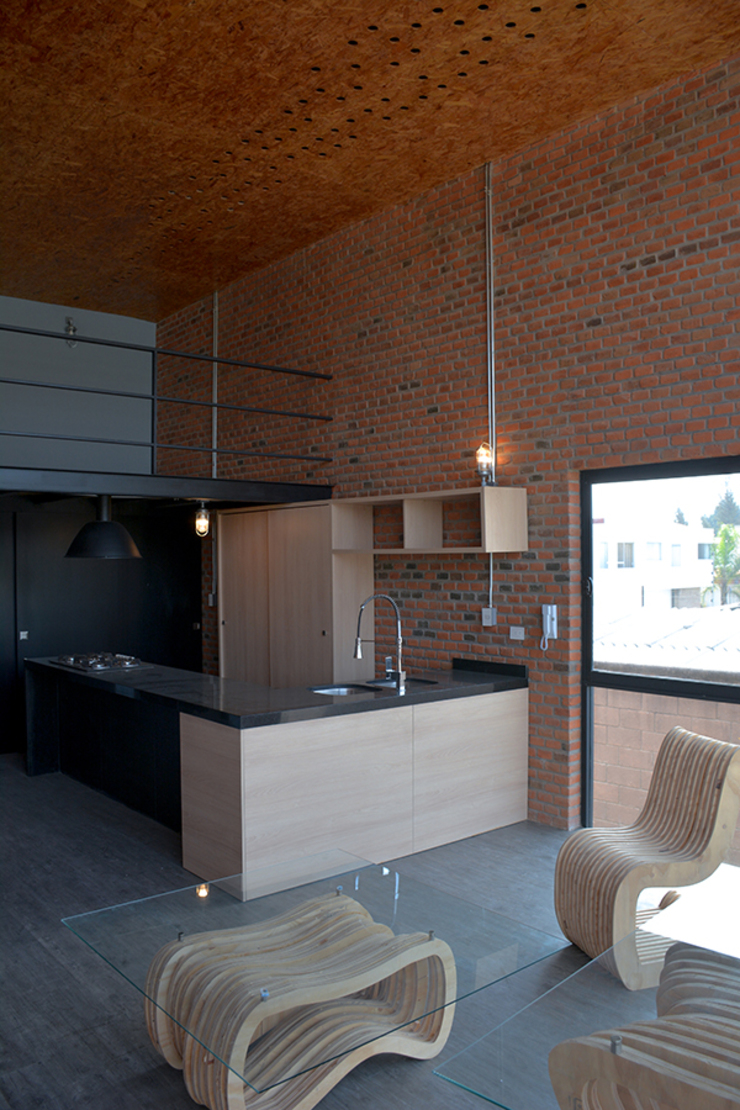 Industrial style kitchen by Proyecto Cafeina Industrial Wood Wood effect