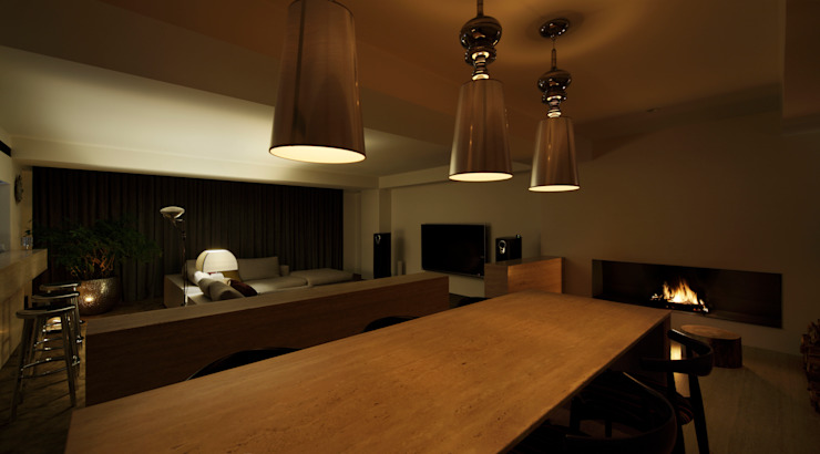 O邸 モダンデザインの ダイニング の 中塚健仁建築設計事務所 モダン