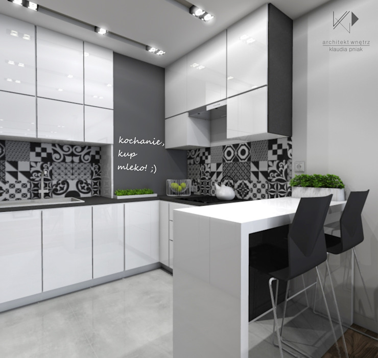 Marokańskie płytki w kuchni Nowoczesna kuchnia od Architekt wnętrz Klaudia Pniak Nowoczesny