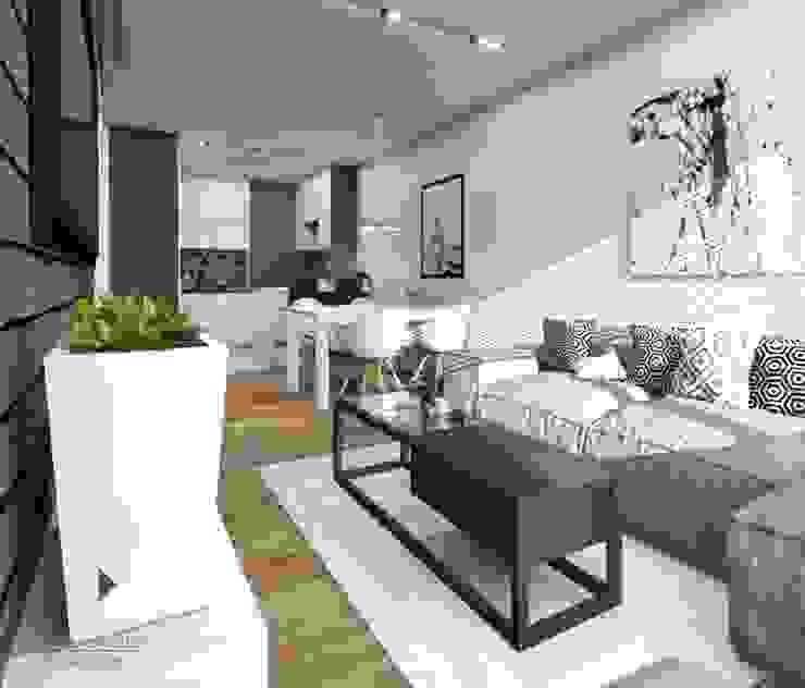 Biało-czarne mieszkanie Nowoczesny salon od Architekt wnętrz Klaudia Pniak Nowoczesny