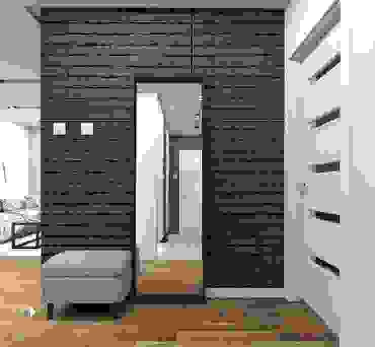Czarna cegła w przedpokoju Nowoczesny korytarz, przedpokój i schody od Architekt wnętrz Klaudia Pniak Nowoczesny