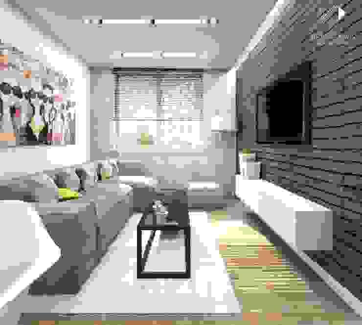 Salon z kolorowym akcentem Nowoczesny salon od Architekt wnętrz Klaudia Pniak Nowoczesny