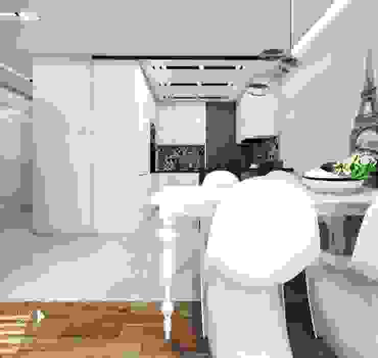 Białe wnętrze Nowoczesna jadalnia od Architekt wnętrz Klaudia Pniak Nowoczesny