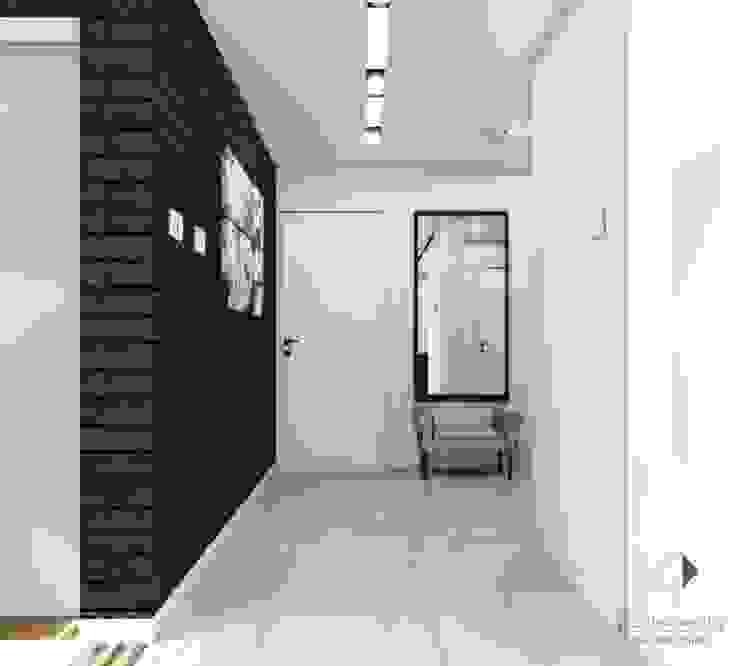 Chłodny,minimalistyczny przedpokój Nowoczesny korytarz, przedpokój i schody od Architekt wnętrz Klaudia Pniak Nowoczesny