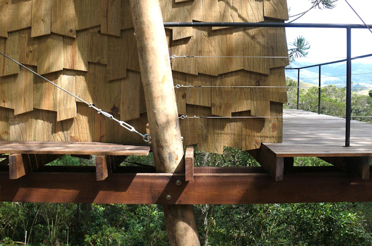 Casa Dois Casais Casas rústicas por Cabana Arquitetos Rústico Madeira Efeito de madeira