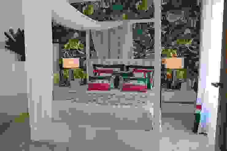 Chambre tropicale par Andreia Louraço - Designer de Interiores (Contacto: atelier.andreialouraco@gmail.com) Tropical Textile Ambre/Or