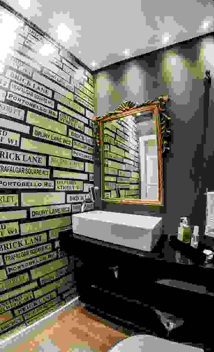 Arquitetura Sustentável - Lavabo cunha² arquitetura Banheiros minimalistas Preto