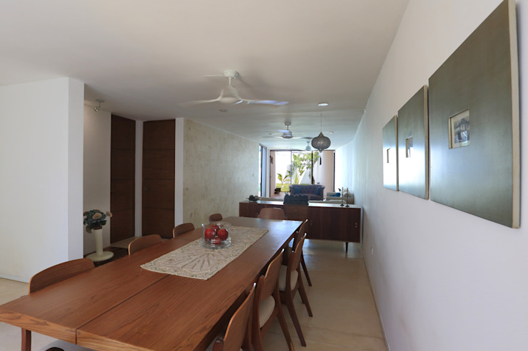 Tropical style dining room by FGO Arquitectura Tropical Wood Wood effect