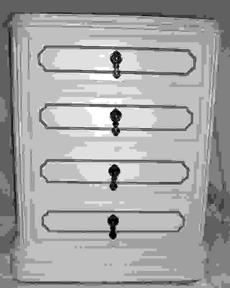 Mesa de Cabeceira Marfim e Cinza por Armazém 9 Clássico Madeira maciça Multicolor