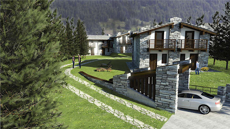 Casas rústicas de Damiano Ferrando | Architectural Visualization | Rústico Piedra