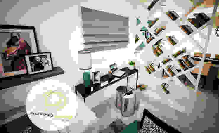 Sala azul Salas de estar modernas por Andreia Louraço - Designer de Interiores (Contacto: atelier.andreialouraco@gmail.com) Moderno Derivados de madeira Transparente