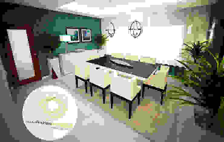 Sala azul Salas de jantar modernas por Andreia Louraço - Designer de Interiores (Contacto: atelier.andreialouraco@gmail.com) Moderno Derivados de madeira Transparente