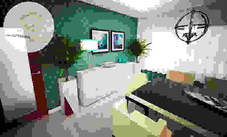 Sala azul por Andreia Louraço - Designer de Interiores (Contacto: atelier.andreialouraco@gmail.com) Moderno Madeira Acabamento em madeira