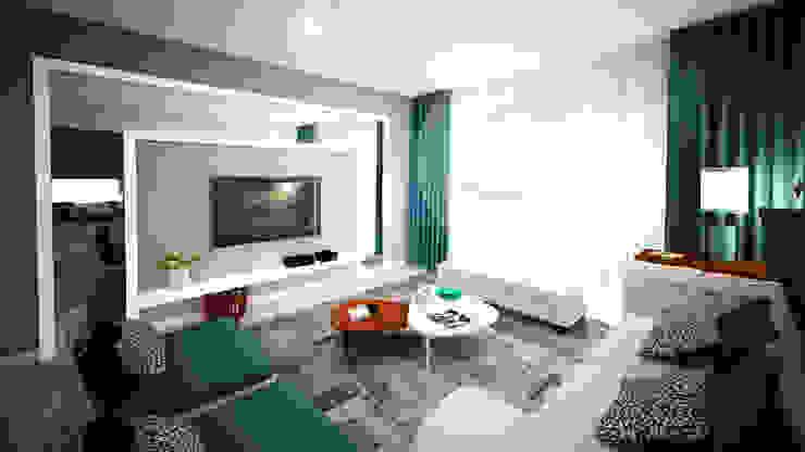Sala azul Salas de estar modernas por Andreia Louraço - Designer de Interiores (Contacto: atelier.andreialouraco@gmail.com) Moderno Madeira Acabamento em madeira