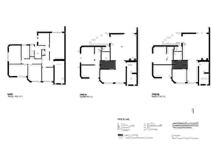 Plantas Paredes e pisos modernos por URBAstudios Moderno