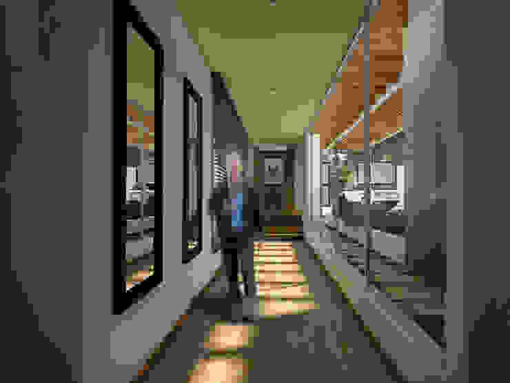 Hall alcoba huespedes Pasillos, vestíbulos y escaleras de estilo moderno de Gliptica Design Moderno Madera Acabado en madera