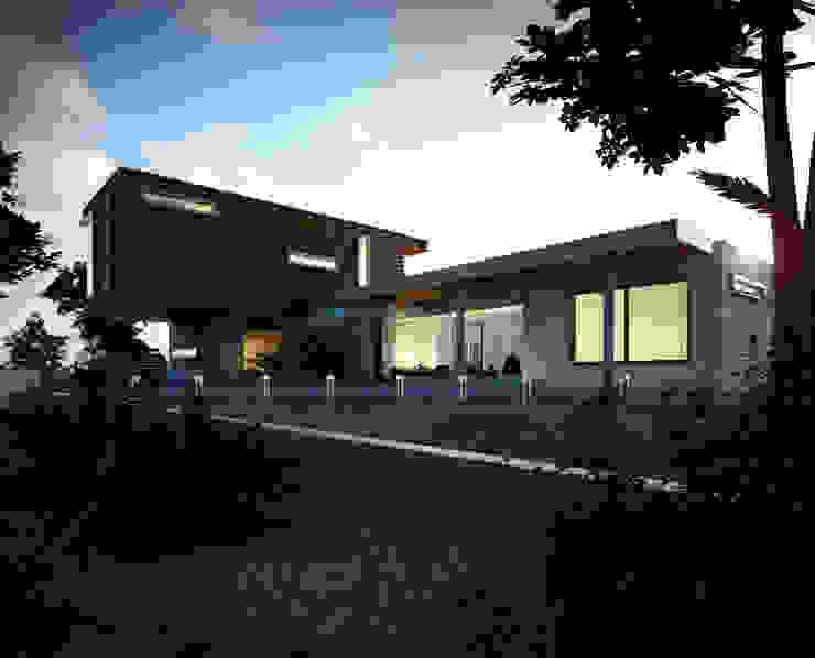 Fachada exterior - Vista desde jardín Casas modernas de Gliptica Design Moderno Madera Acabado en madera